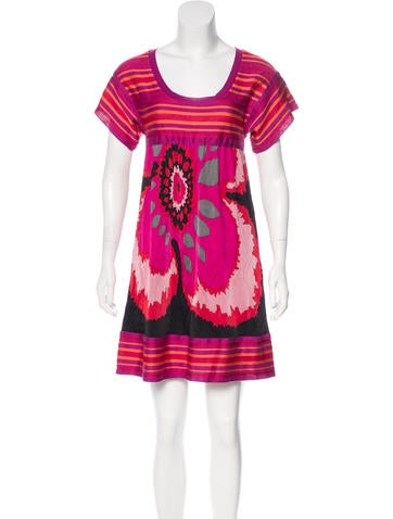 M Missoni Floral and Striped Dress None