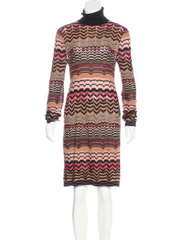 M Missoni Long Sleeve Knit Midi Dress None