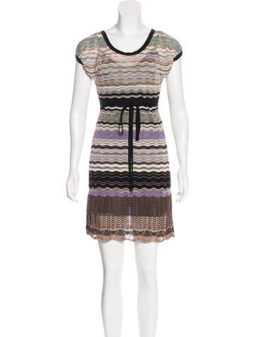 M Missoni Knit Cap-Sleeve Mini Dress None