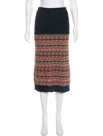 M Missoni Merino Wool Knee-Length Skirt None