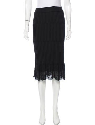 M Missoni Rib Knit Knee-Length Skirt w/ Tags None