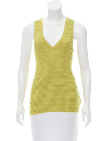 M Missoni Sleeveless Plissé Top None