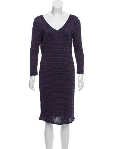 M Missoni Long Sleeve Knit Midi Dress None