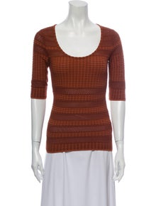 M Missoni Scoop Neck Three-Quarter Sleeve Top