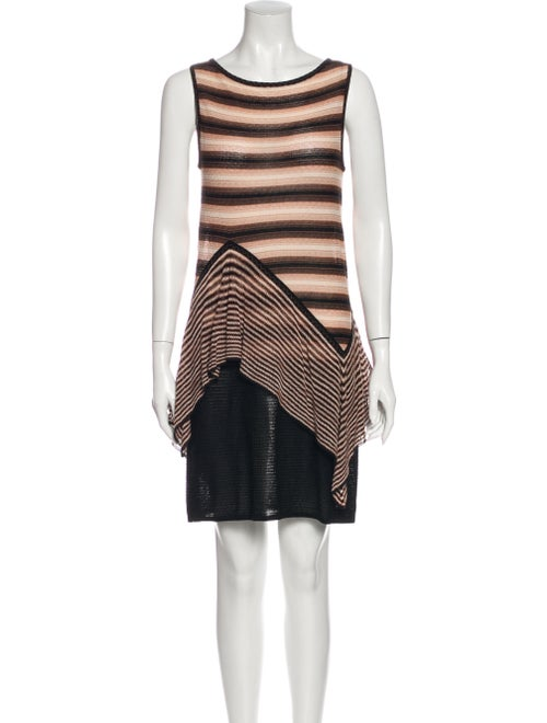 M Missoni Striped Mini Dress Brown
