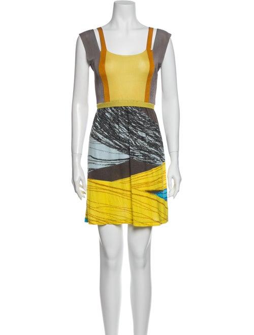 M Missoni Printed Mini Dress Yellow