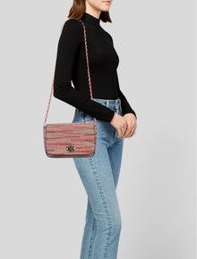 M Missoni Leather Trimmed Woven Shoulder Bag