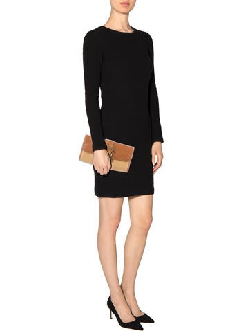 Leather-Trimmed Straw Clutch