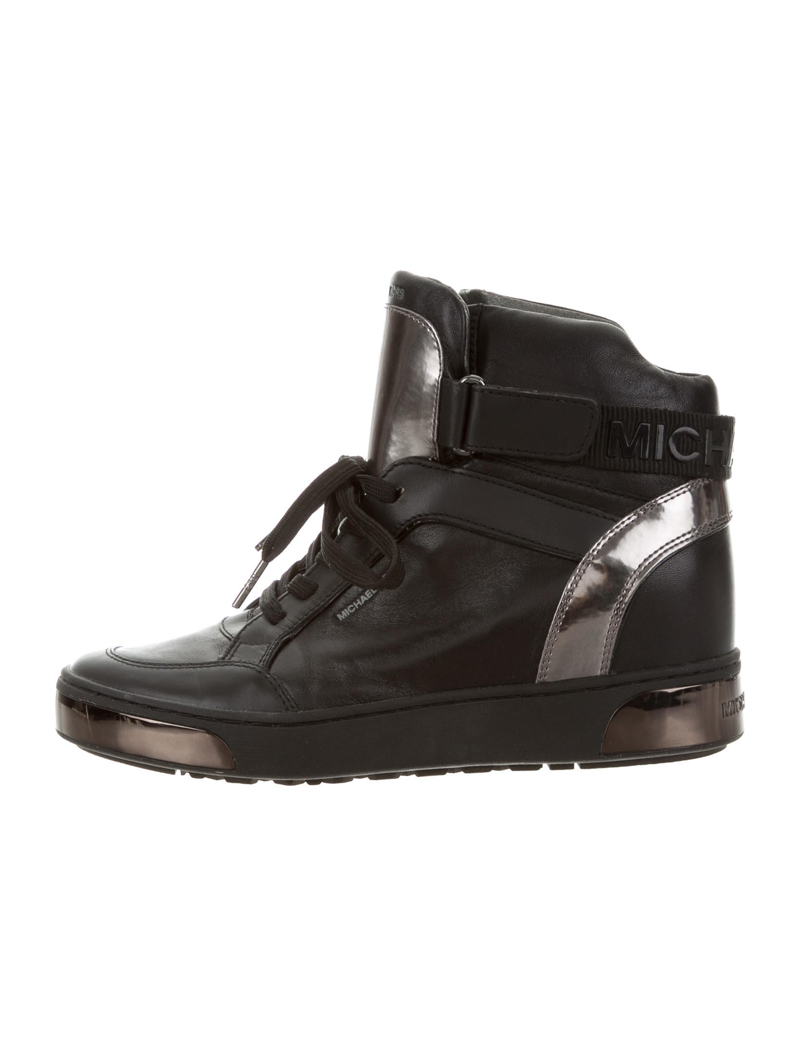 michael michael kors high top wedge sneakers shoes wm520922 the realreal. Black Bedroom Furniture Sets. Home Design Ideas