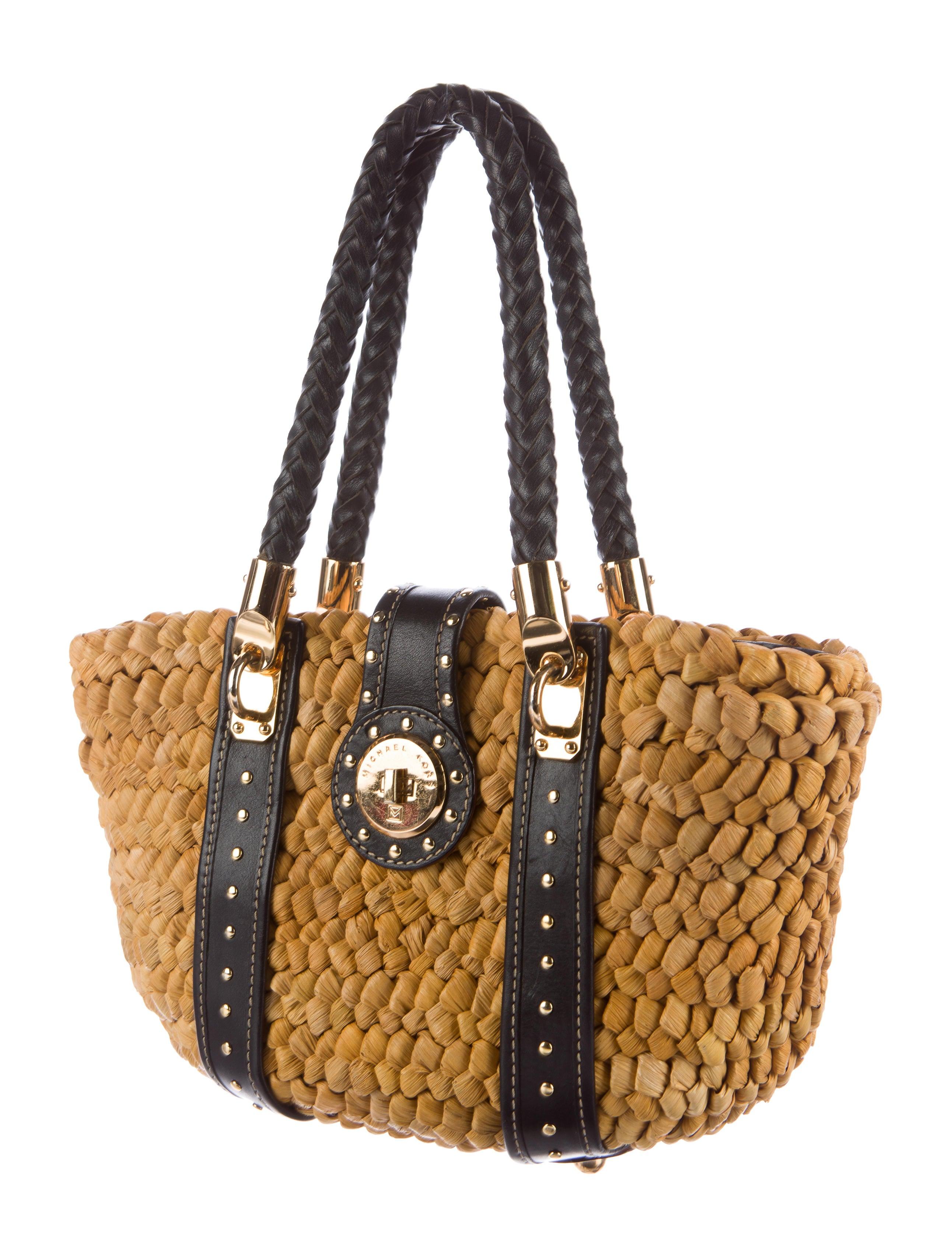 Michael Michael Kors Leather Trimmed Straw Bag Handbags