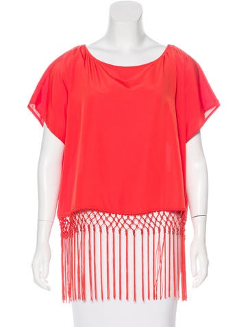Michael Michael Kors Fringe-Trimmed Short Sleeve Top w/ Tags None