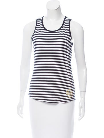 Michael Michael Kors Striped Embellished Top None