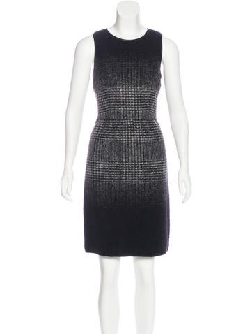 Michael Michael Kors Leather-Trimmed Wool Dress None