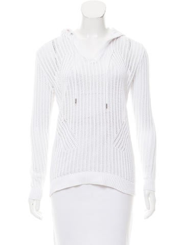 Michael Michael Kors Open Knit Hooded Sweater None