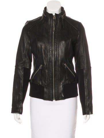 Michael Michael Kors Leather Zip-Up Jacket w/ Tags None