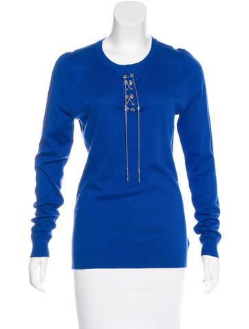 Michael Michael Kors Embellished Lace-Up Sweater None
