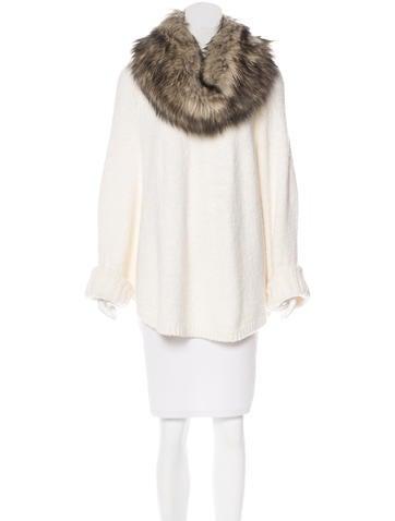 Michael Michael Kors Faux Fur-Trimmed Poncho None
