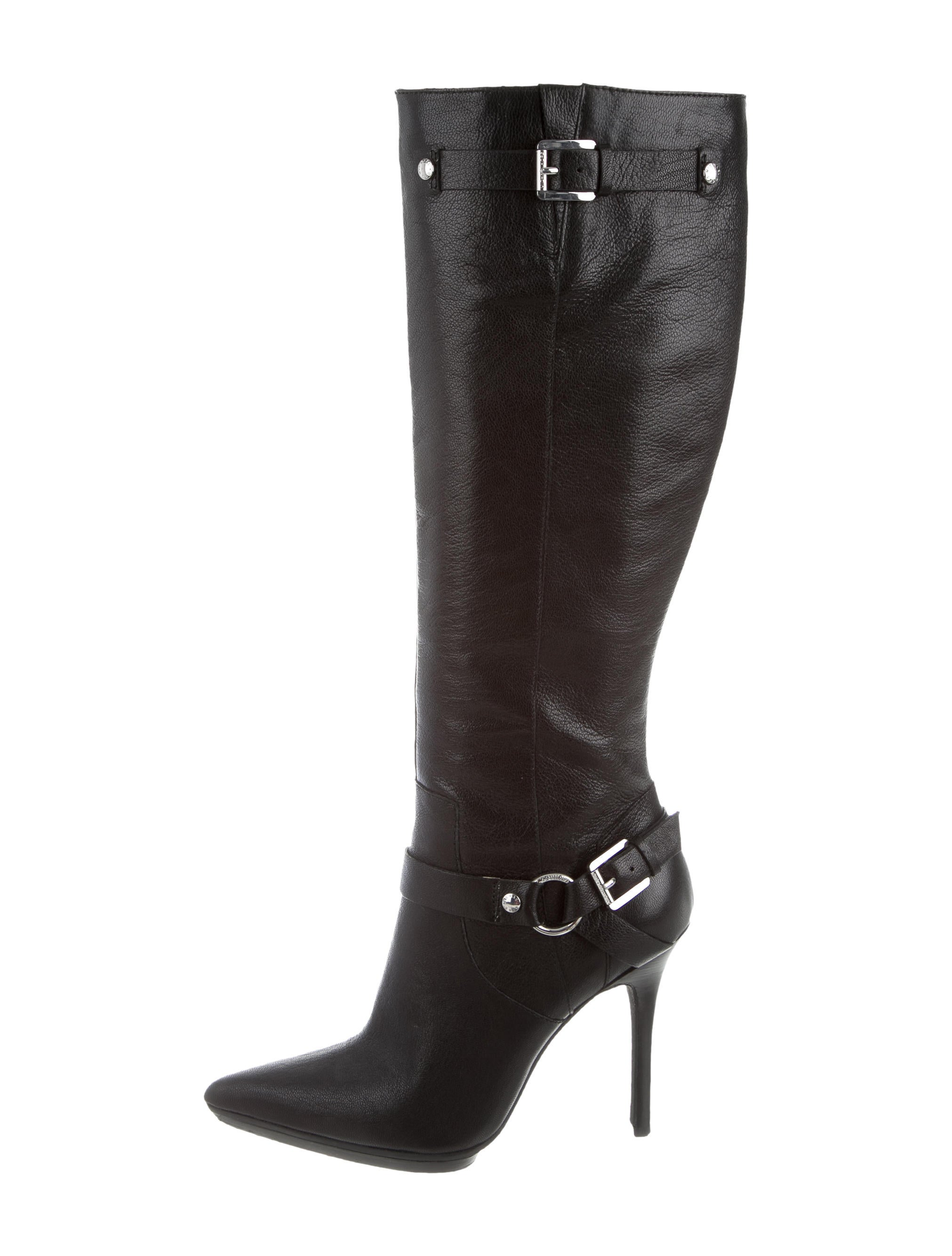 michael michael kors leather knee high boots shoes