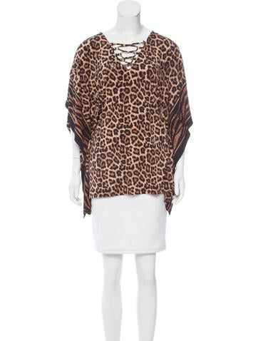 Michael Michael Kors Leopard Print Top None
