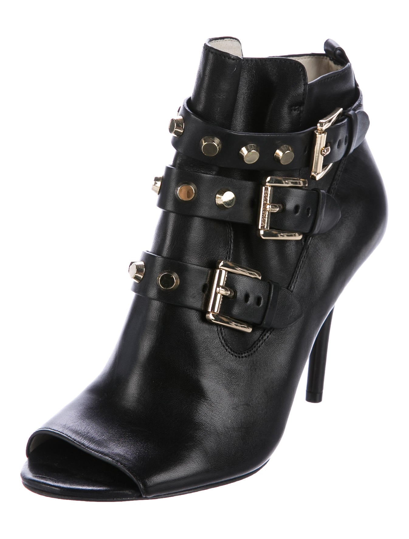 michael michael kors leather studded ankle boots shoes