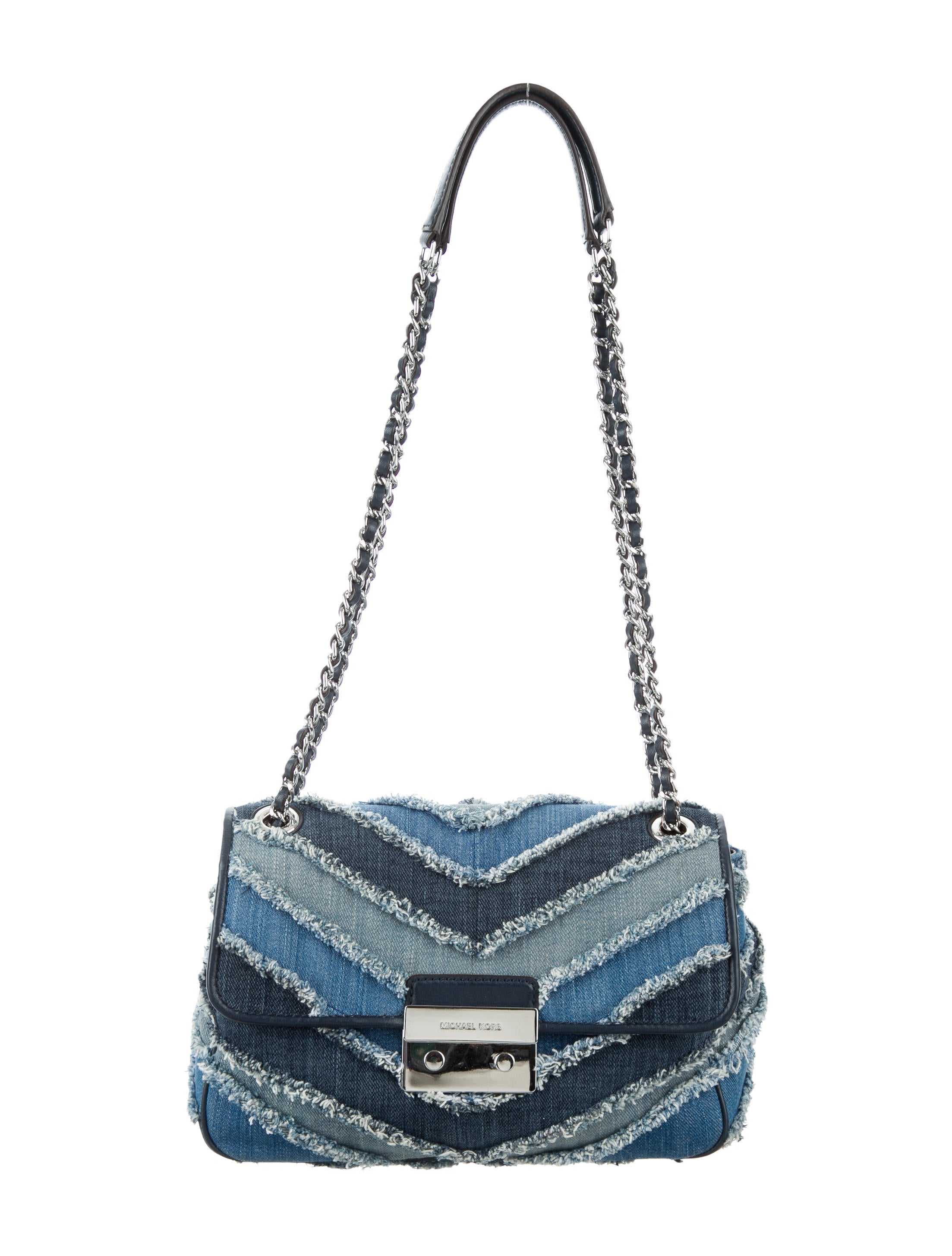 858e5c263120 Michael Michael Kors Small Sloan Chevron Denim Bag - Handbags ...