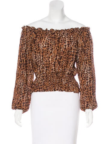 Michael Michael Kors Silk Off-The-Shoulder Top None