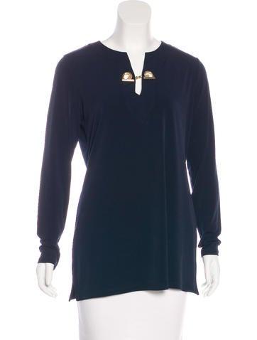 Michael Michael Kors V-Neck Long Sleeve Top None