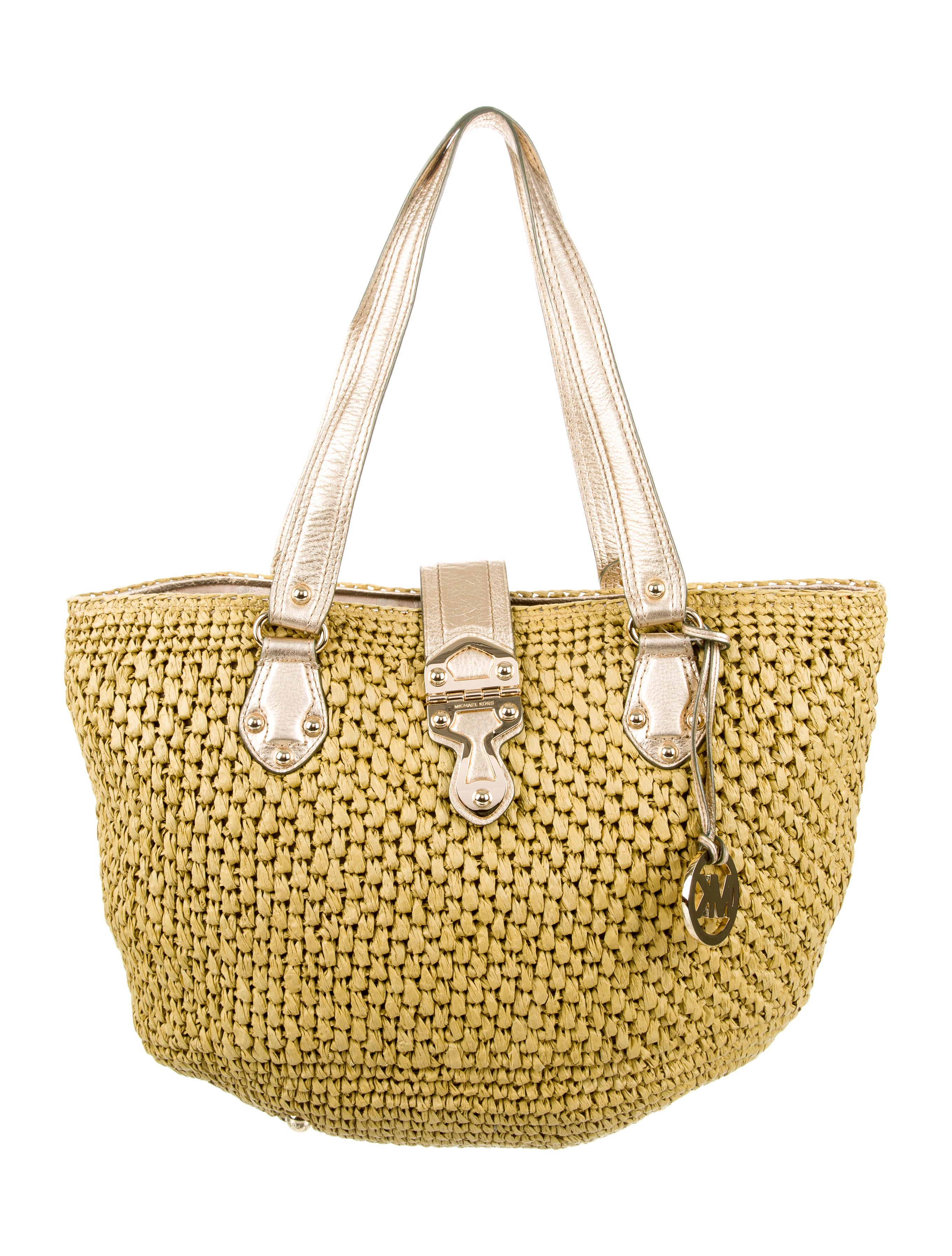 cc9fbce95f Michael Michael Kors Leather-Trimmed Straw Tote - Handbags ...