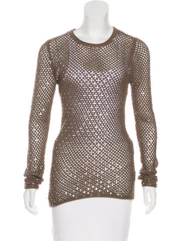 Michael Michael Kors Embellished Open-Knit Top None