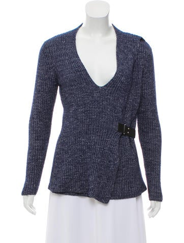 Michael Michael Kors Leather-Trimmed Rib Knit Sweater None