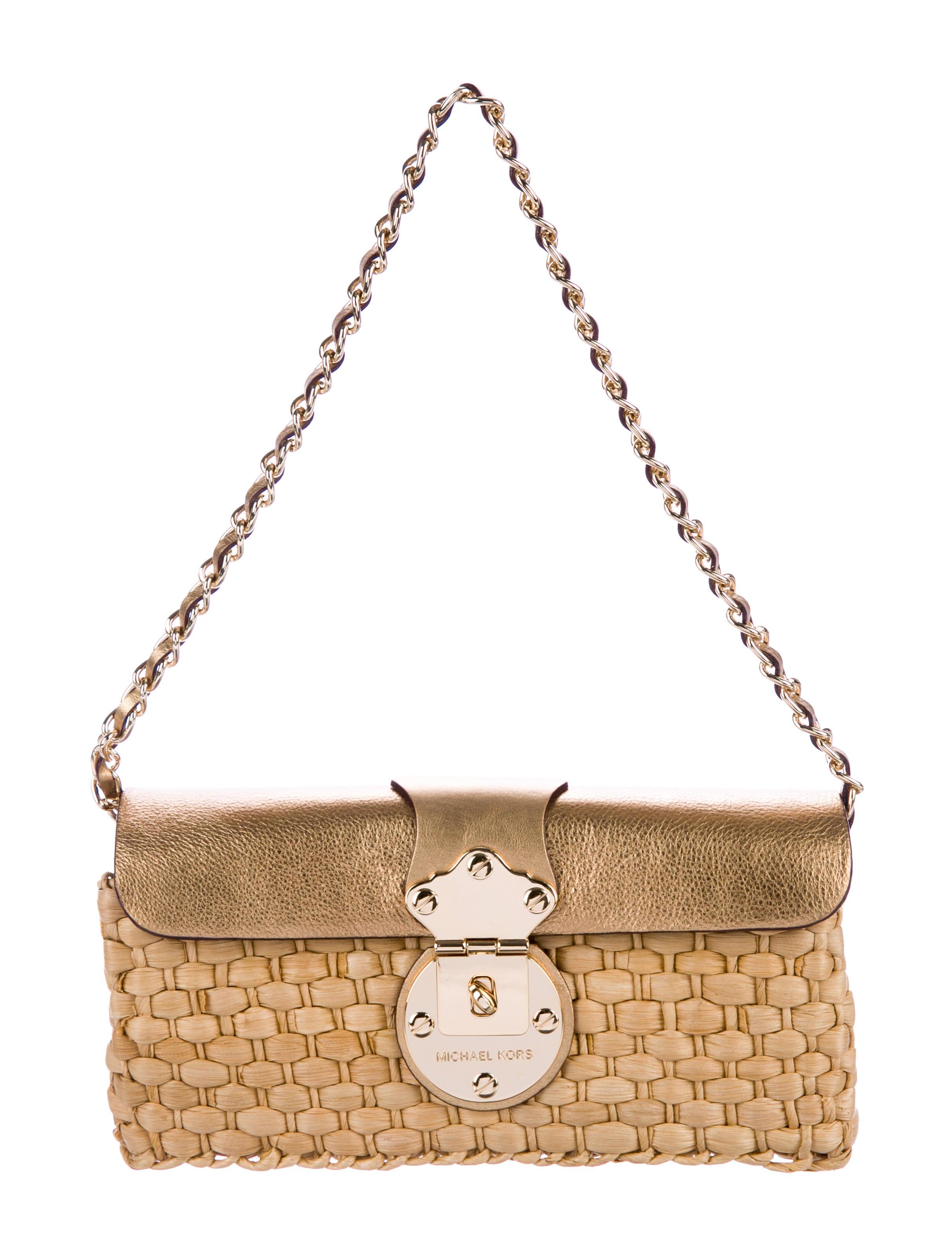 954747b1e549 Michael Michael Kors Leather-Trimmed Woven Raffia Bag - Handbags ...