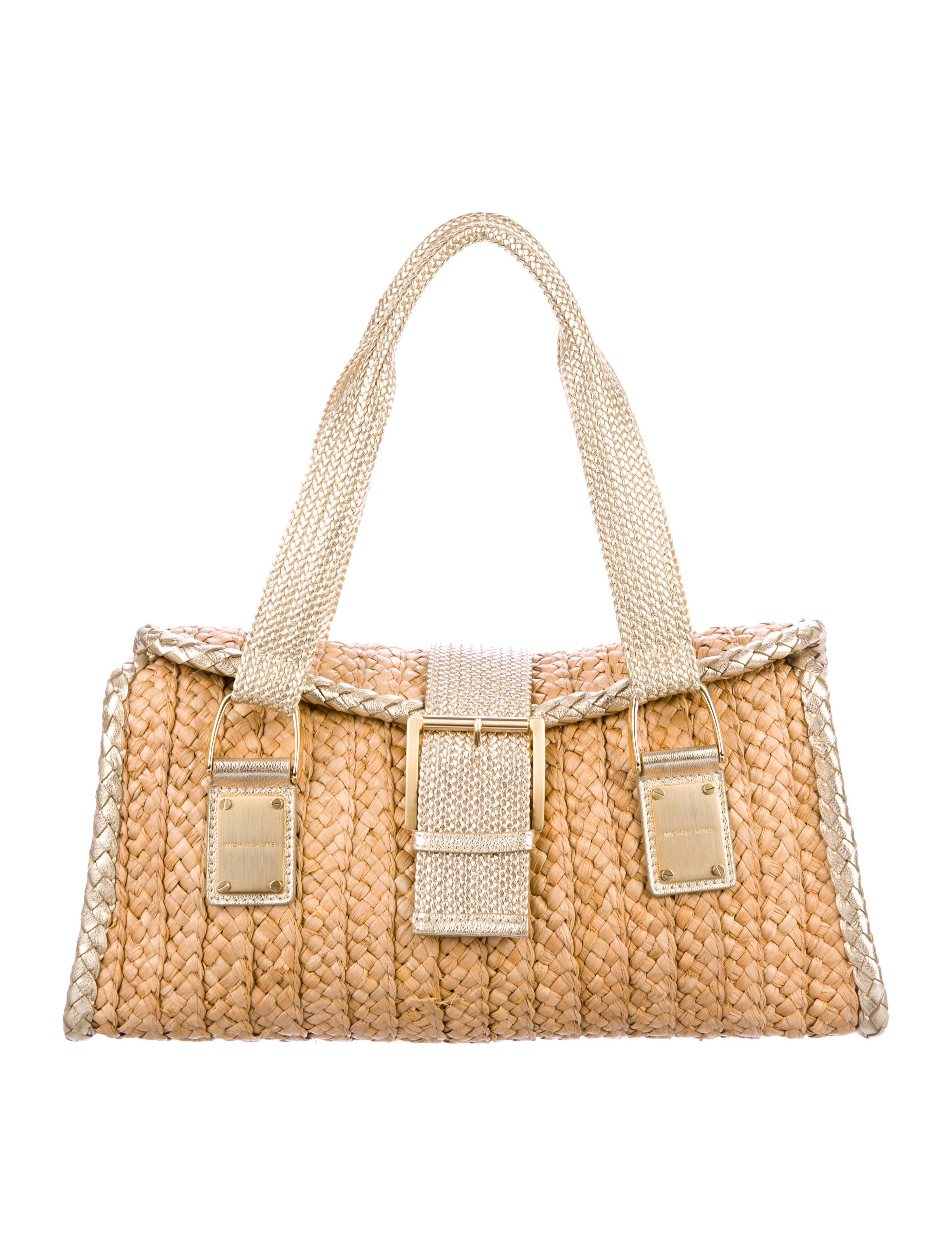 d76c575a60cf Michael Michael Kors Leather-Trimmed Raffia Shoulder Bag - Handbags -  WM528210