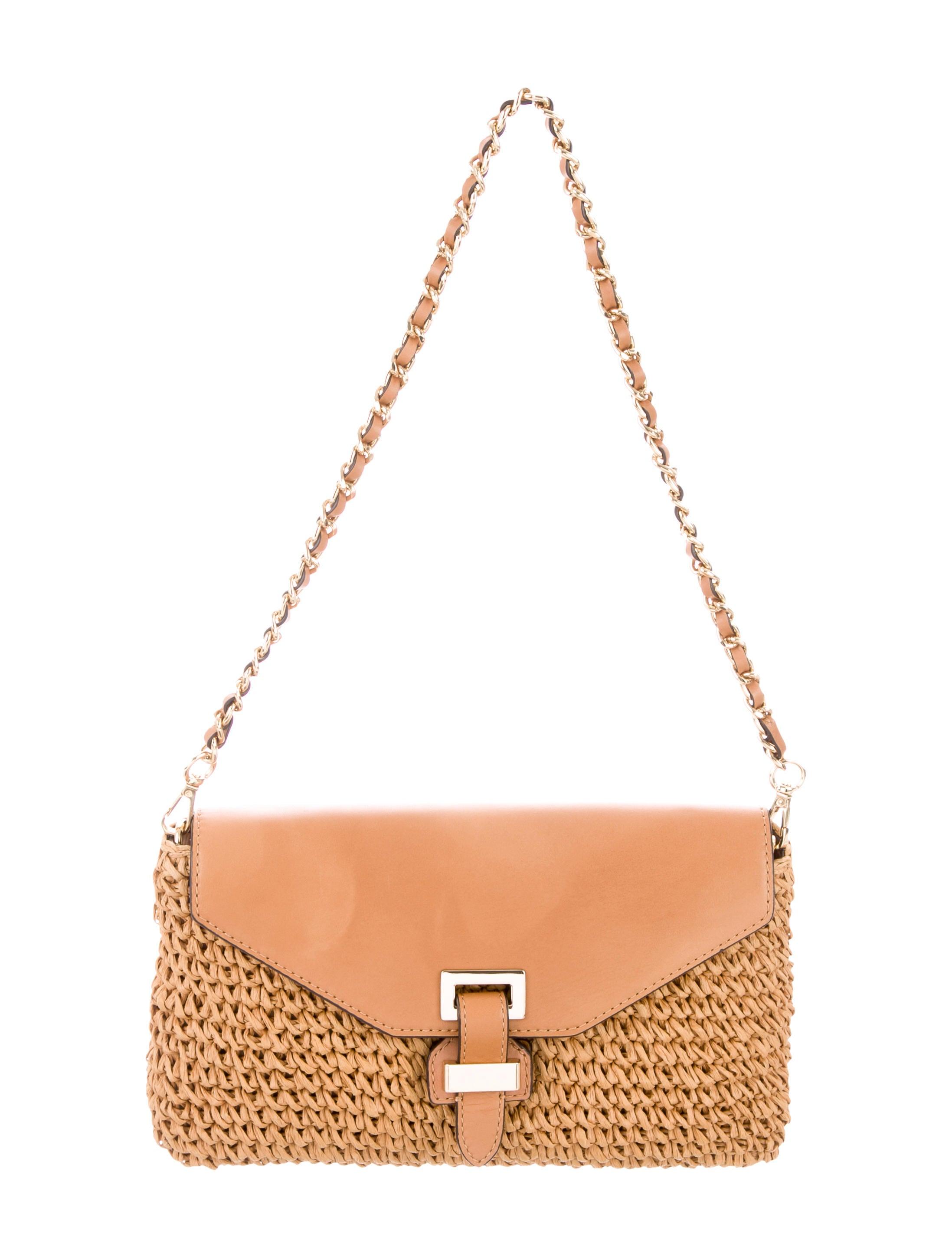 a74f39dad933 Michael Michael Kors Leather-Trimmed Raffia Bag - Handbags ...
