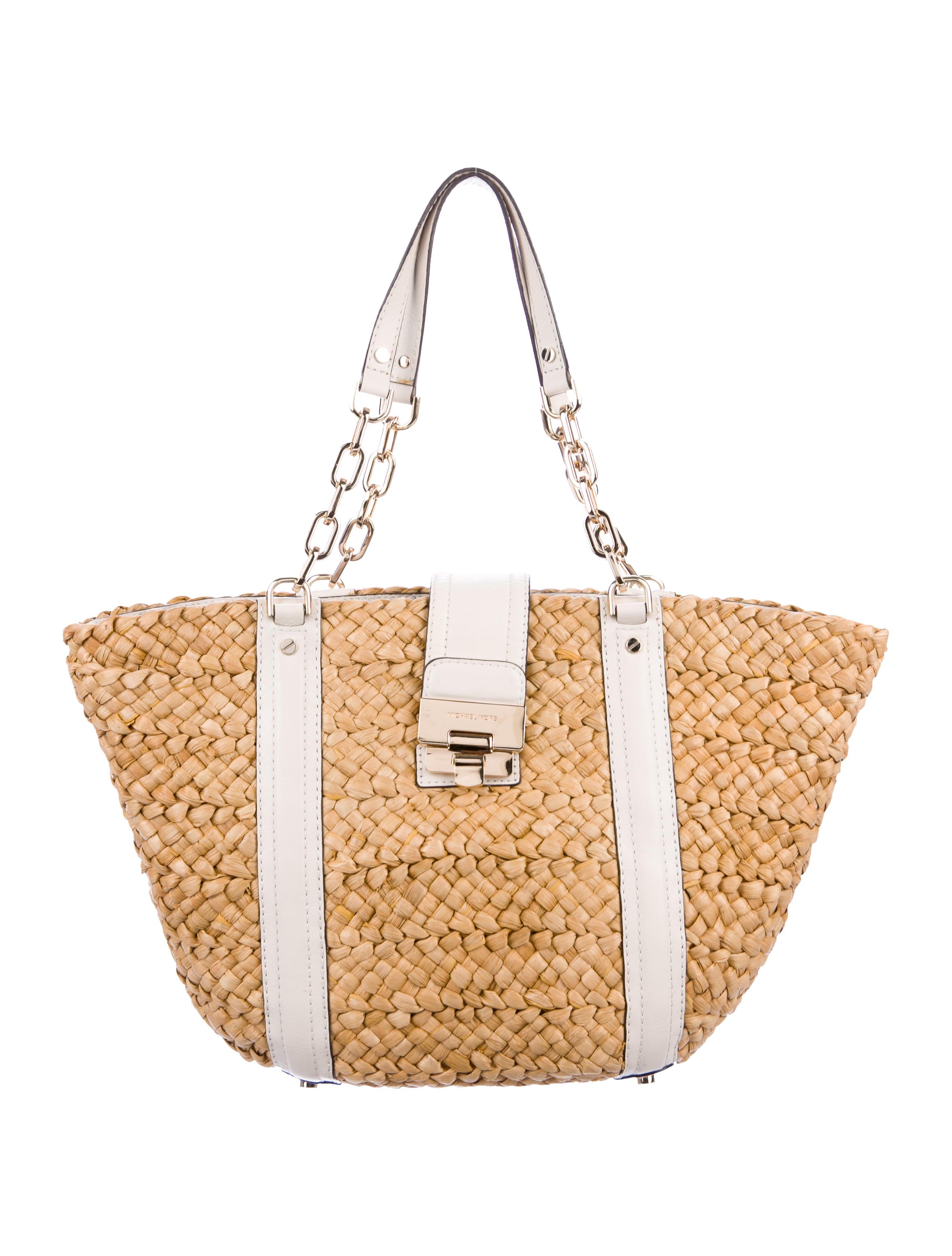 66d1946e4801 Michael Michael Kors Leather-Trimmed Raffia Tote - Handbags - WM529402