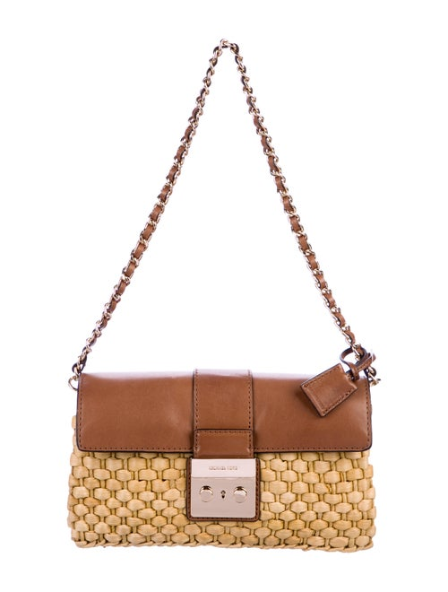 dc405ab08c Michael Michael Kors Leather-Trimmed Straw Bag - Handbags - WM537649 ...