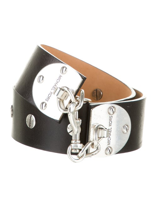 Michael Michael Kors Leather Wide Belt Black