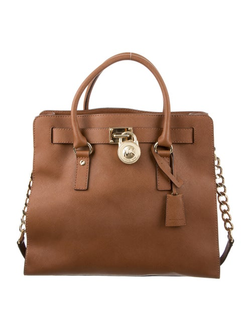 Michael Michael Kors Leather Hamilton Tote Brown