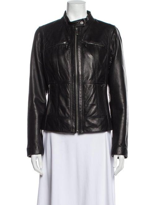 Michael Michael Kors Leather Biker Jacket Black