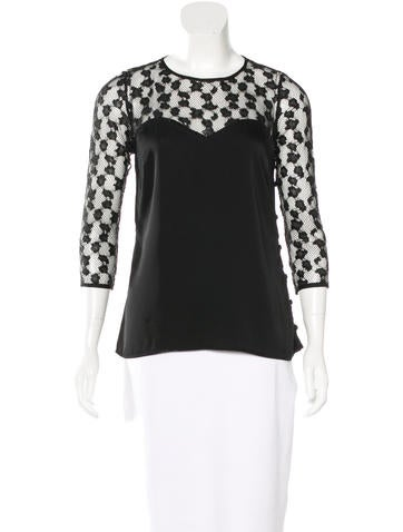 Milly Mesh-Trimmed Silk Top