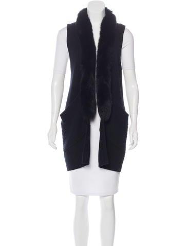 Milly Fur-Trimmed Knit Vest None