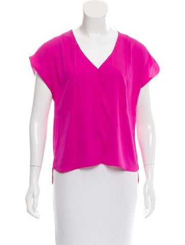 Milly Silk V-Neck Top w/ Tags None
