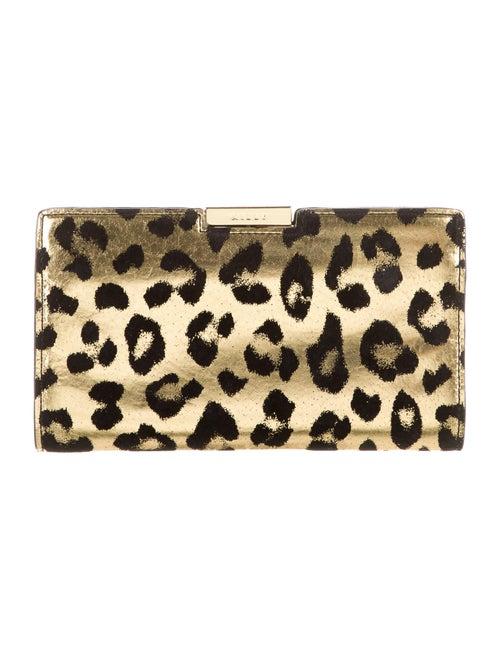 Milly Cheetah-Print Clutch Gold