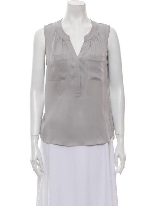 Milly Silk V-Neck Blouse Grey