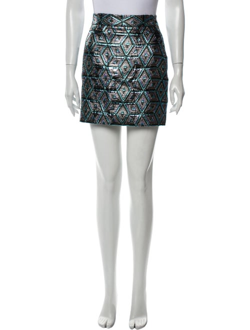 Milly Printed Mini Skirt Metallic