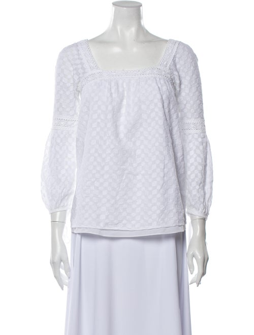 Milly Printed Square Neckline Blouse White