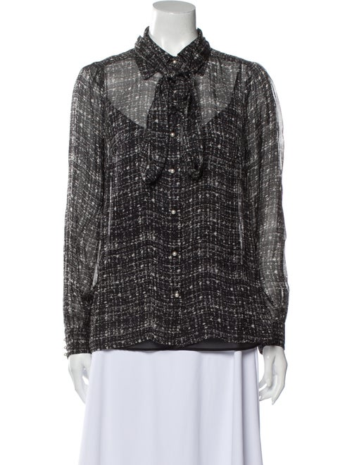 Milly Silk Printed Button-Up Top Black