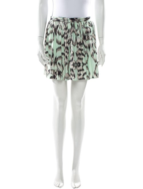 Milly Animal Print Mini Shorts Green