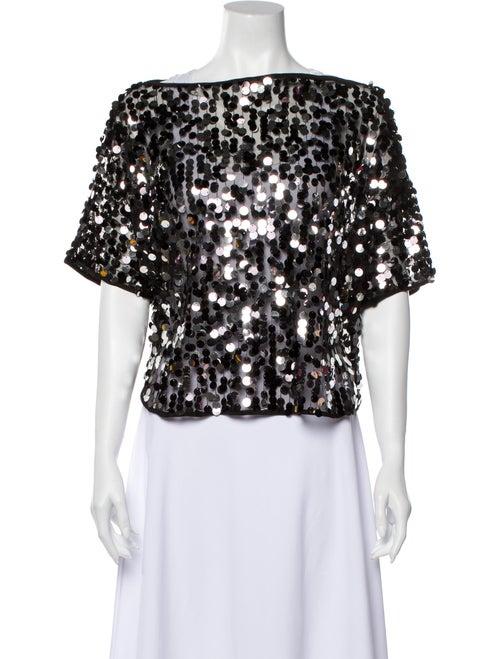 Milly Off-The-Shoulder Short Sleeve Crop Top Black