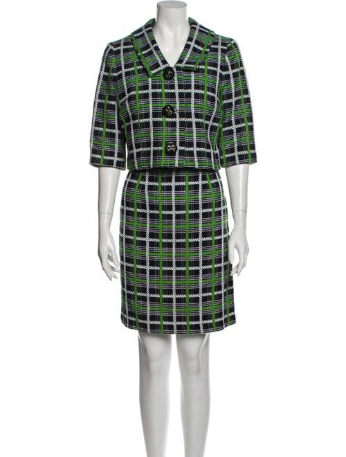Milly Plaid Print Dress Set Green
