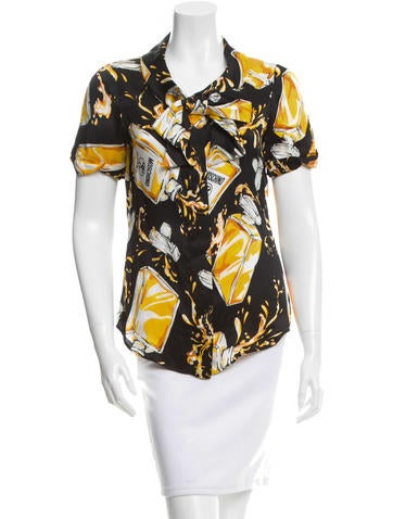 Moschino Couture Printed Silk Button-Up Top None